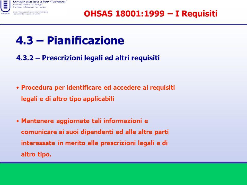 4.3 – Pianificazione 4.3.2 – Prescrizioni legali ed altri requisiti Procedura per identificare ed accedere ai requisiti legali e di altro tipo applica