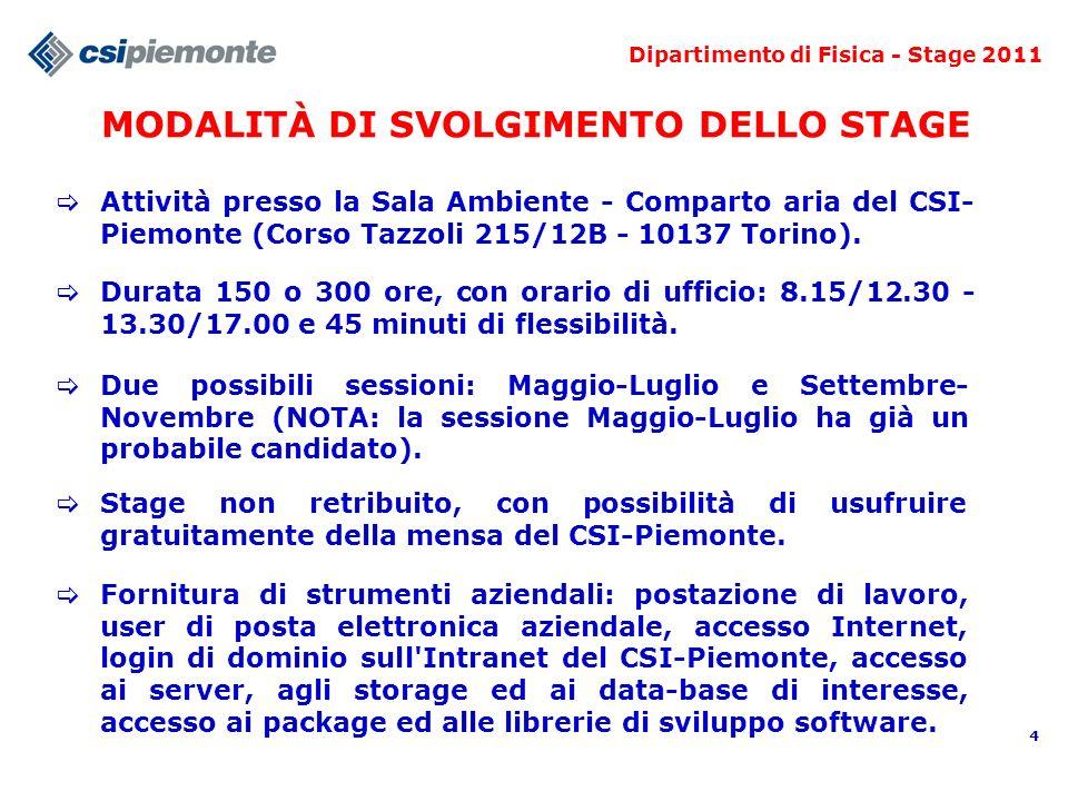 4 Attività presso la Sala Ambiente - Comparto aria del CSI- Piemonte (Corso Tazzoli 215/12B - 10137 Torino).