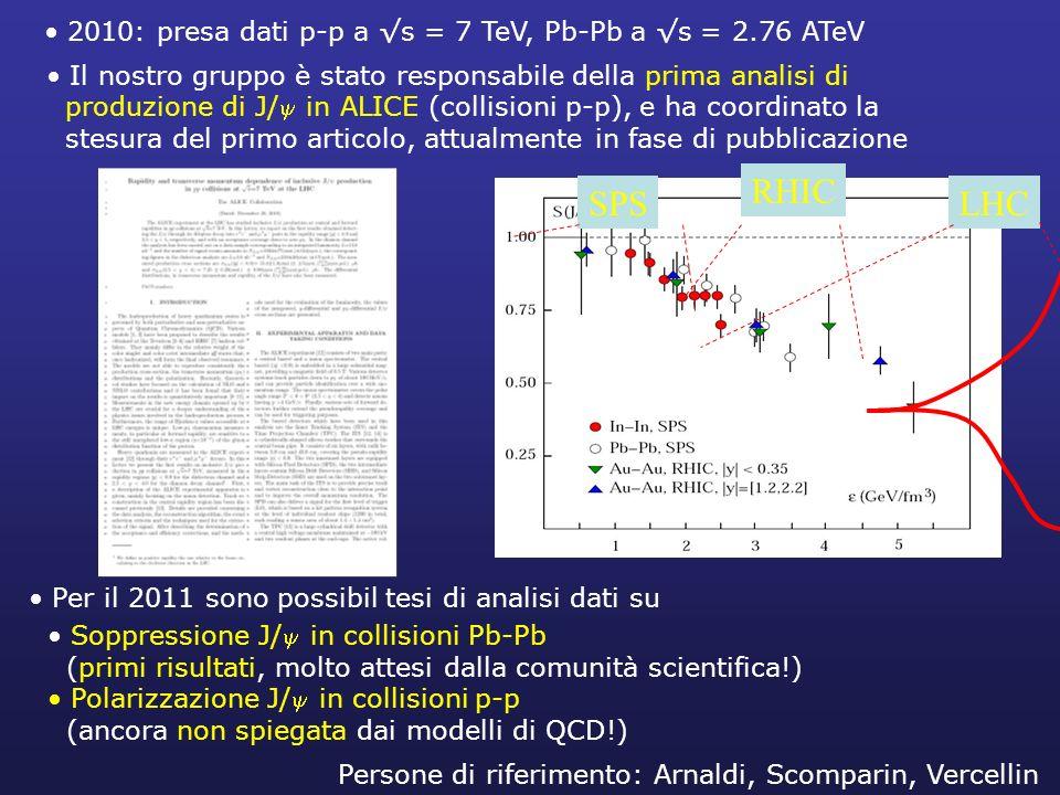 2010: presa dati p-p a s = 7 TeV, Pb-Pb a s = 2.76 ATeV Il nostro gruppo è stato responsabile della prima analisi di produzione di J/ in ALICE (collis