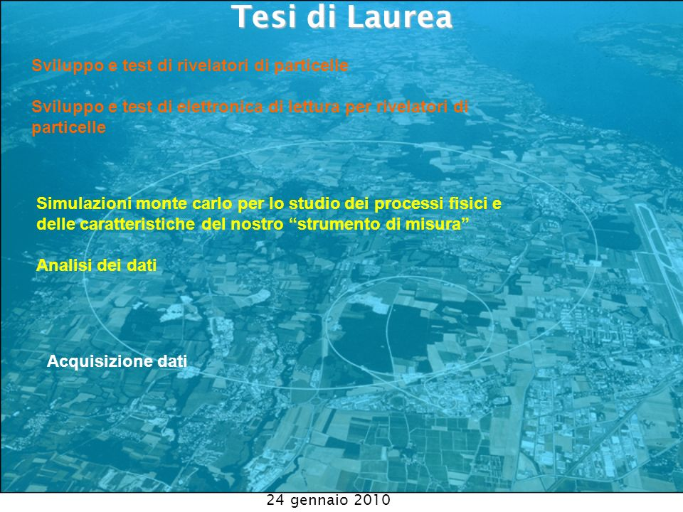 24 gennaio 2010 Tesi di Laurea Tesi di Laurea Sviluppo e test di rivelatori di particelle Sviluppo e test di elettronica di lettura per rivelatori di