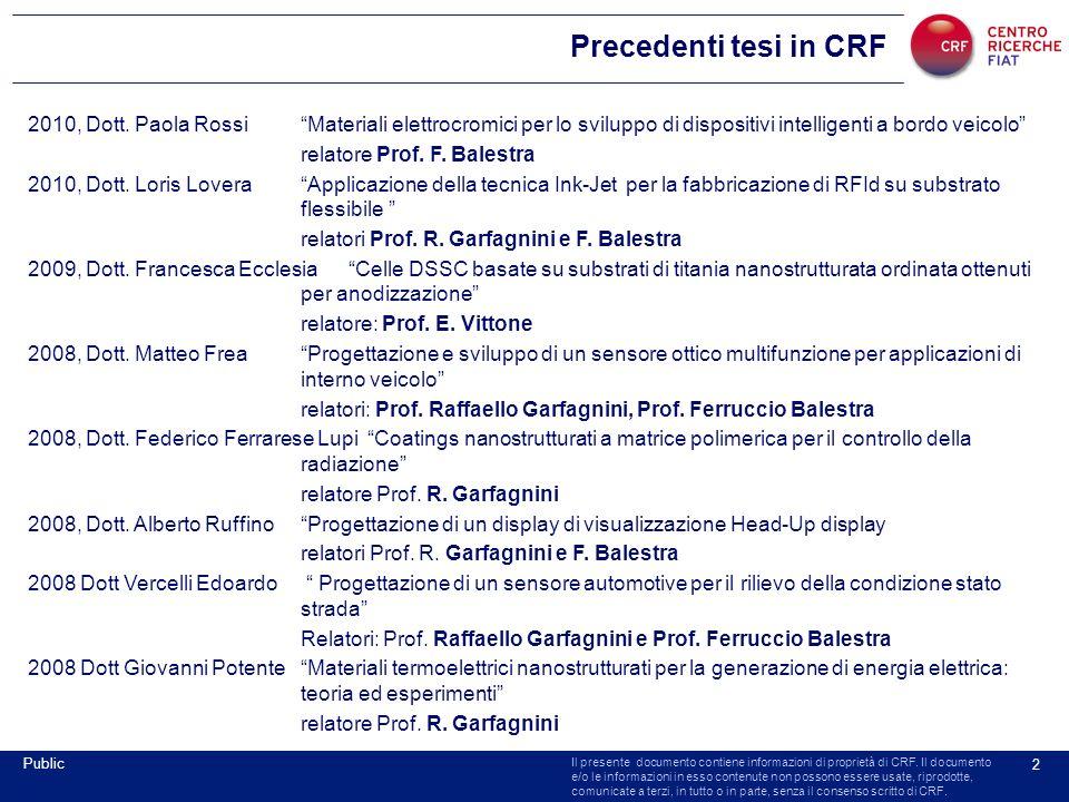 Il presente documento contiene informazioni di proprietà di CRF. Il documento e/o le informazioni in esso contenute non possono essere usate, riprodot