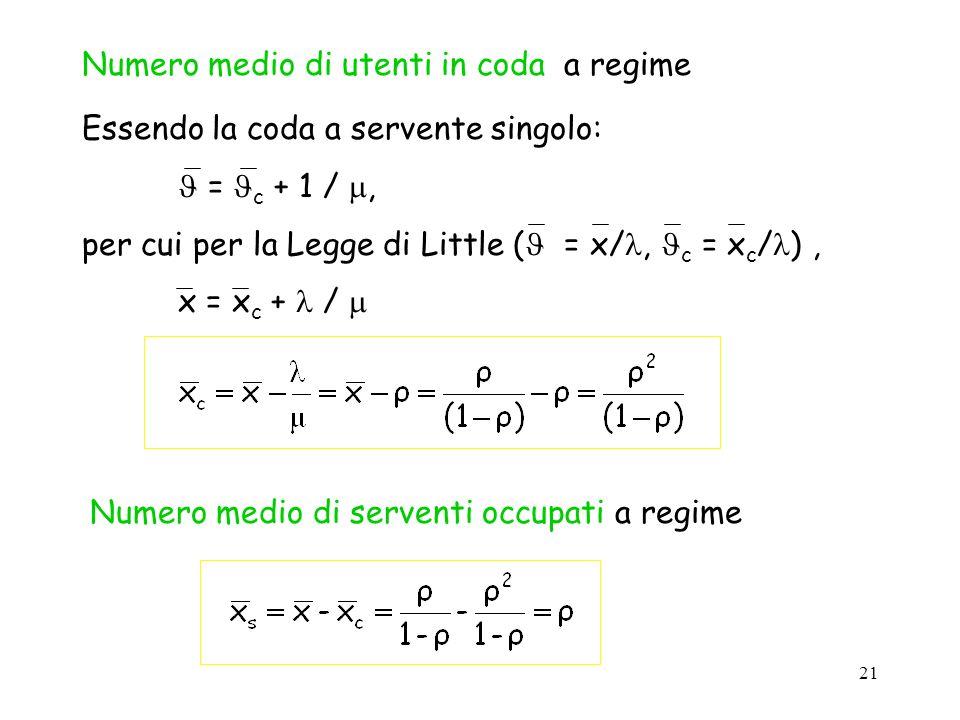 21 Numero medio di utenti in coda a regime Essendo la coda a servente singolo: = c + 1 /, per cui per la Legge di Little ( = x/, c = x c / ), x = x c