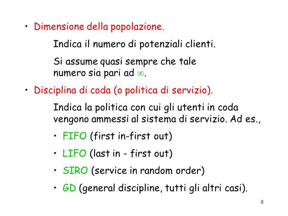 8 Dimensione della popolazione. Indica il numero di potenziali clienti. Si assume quasi sempre che tale numero sia pari ad. Disciplina di coda (o poli