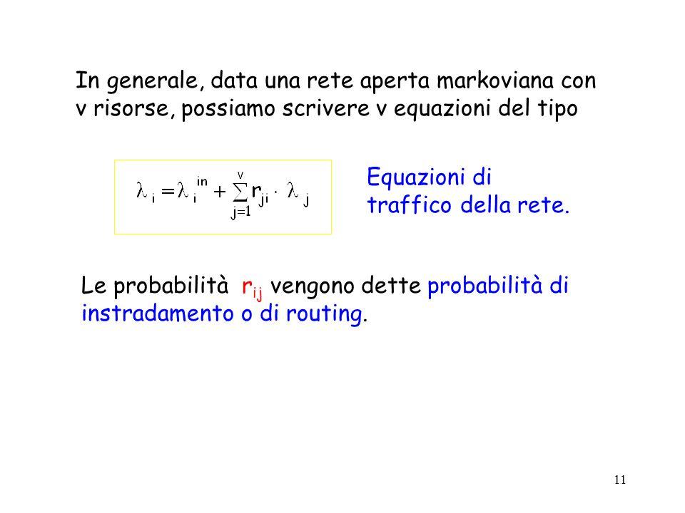 11 In generale, data una rete aperta markoviana con v risorse, possiamo scrivere v equazioni del tipo Equazioni di traffico della rete. Le probabilità