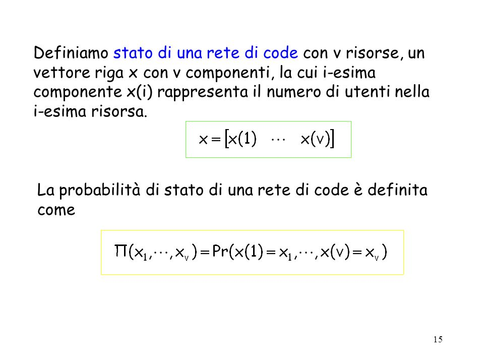 15 Definiamo stato di una rete di code con v risorse, un vettore riga x con v componenti, la cui i-esima componente x(i) rappresenta il numero di uten