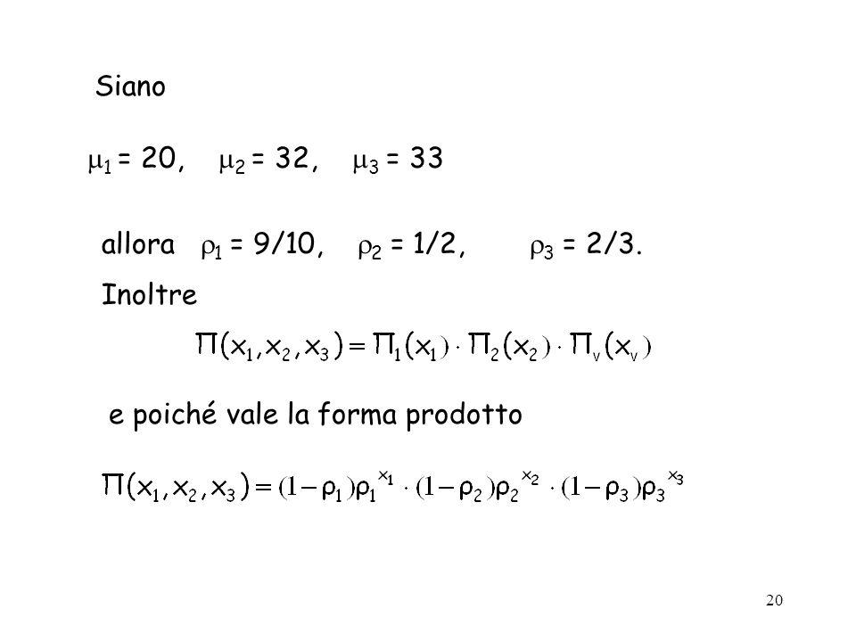 20 Siano 1 = 20, 2 = 32, 3 = 33 allora 1 = 9/10, 2 = 1/2, 3 = 2/3. Inoltre e poiché vale la forma prodotto