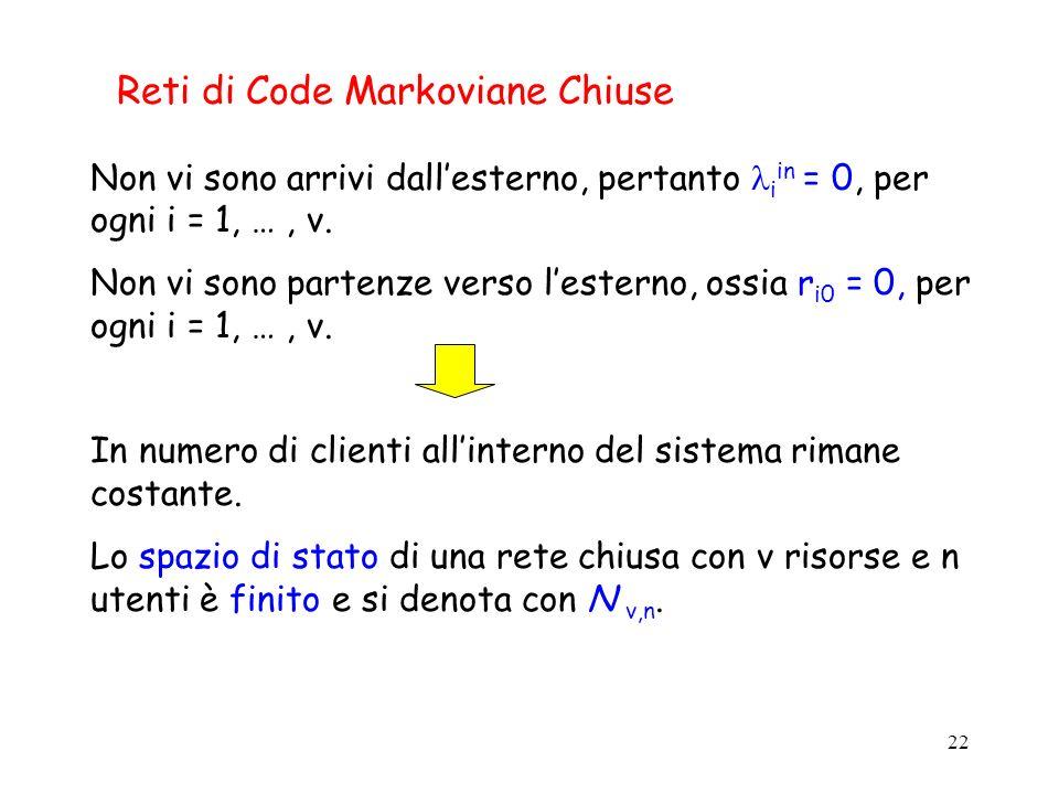 22 Reti di Code Markoviane Chiuse Non vi sono arrivi dallesterno, pertanto i in = 0, per ogni i = 1, …, v. Non vi sono partenze verso lesterno, ossia