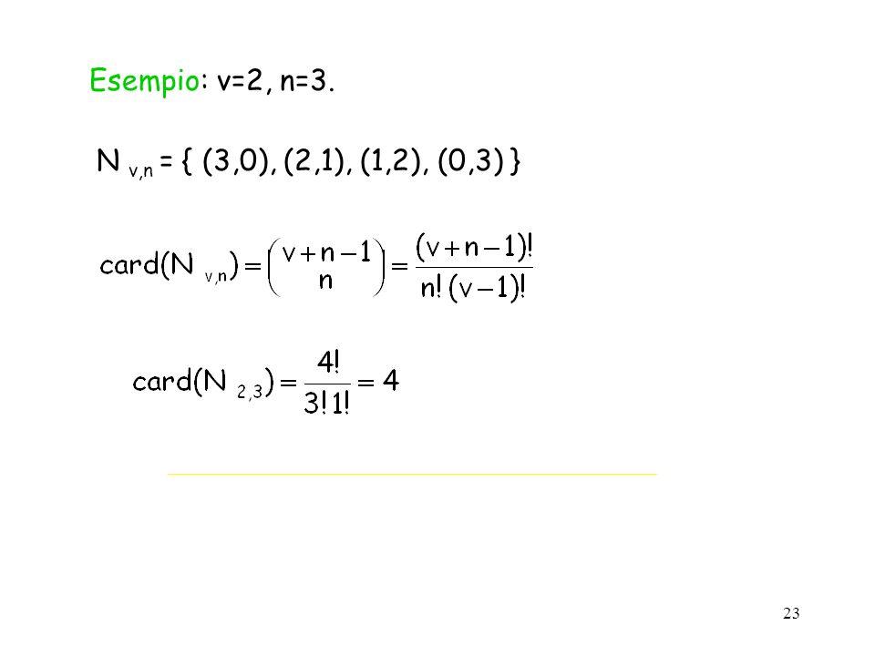 23 Esempio: v=2, n=3. N v,n = { (3,0), (2,1), (1,2), (0,3) }
