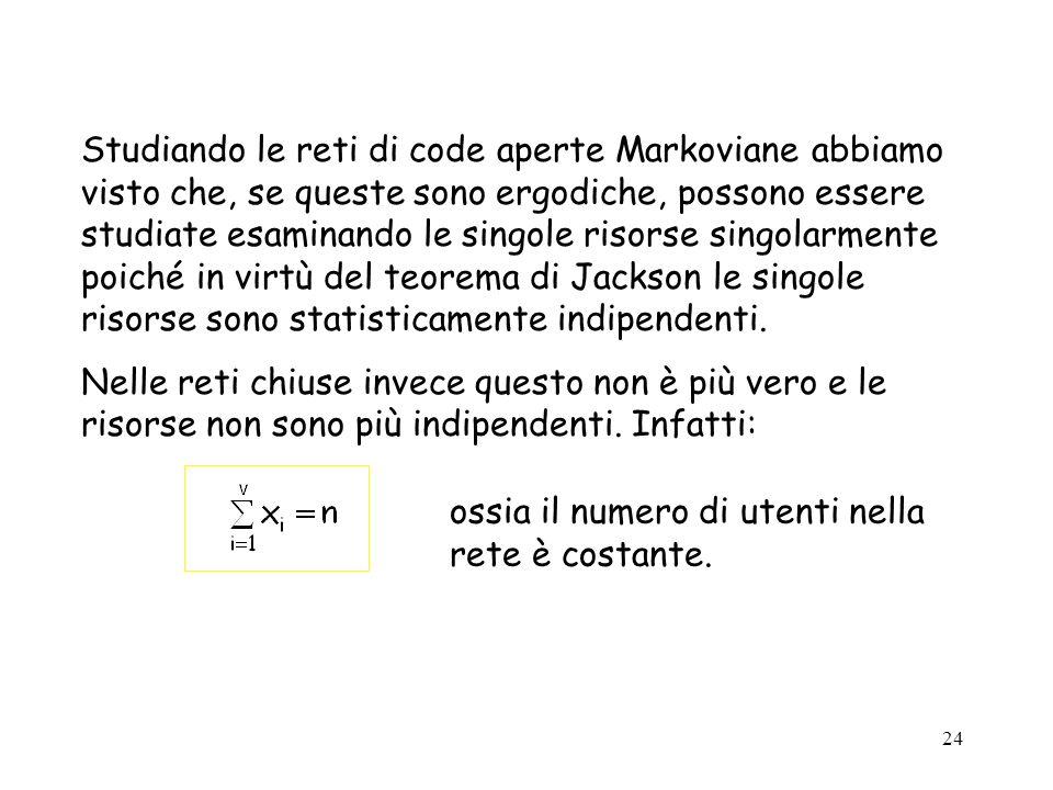 24 Studiando le reti di code aperte Markoviane abbiamo visto che, se queste sono ergodiche, possono essere studiate esaminando le singole risorse sing