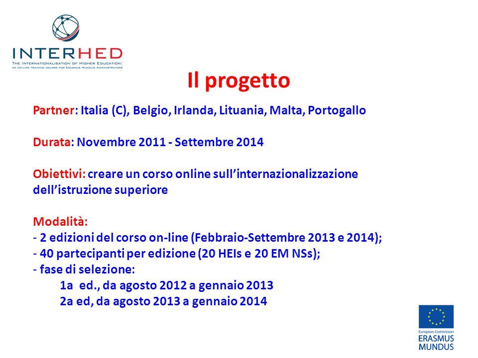 Il progetto Partner: Italia (C), Belgio, Irlanda, Lituania, Malta, Portogallo Durata: Novembre 2011 - Settembre 2014 Obiettivi: creare un corso online sullinternazionalizzazione dellistruzione superiore Modalità: - 2 edizioni del corso on-line (Febbraio-Settembre 2013 e 2014); - 40 partecipanti per edizione (20 HEIs e 20 EM NSs); - fase di selezione: 1a ed., da agosto 2012 a gennaio 2013 2a ed, da agosto 2013 a gennaio 2014