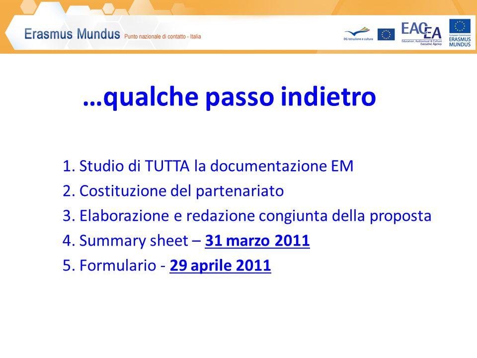 1. Studio di TUTTA la documentazione EM 2. Costituzione del partenariato 3.