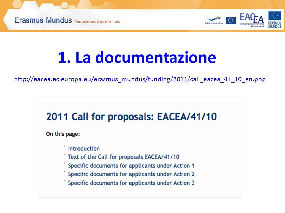 http://eacea.ec.europa.eu/erasmus_mundus/funding/2011/call_eacea_41_10_en.php 1. La documentazione