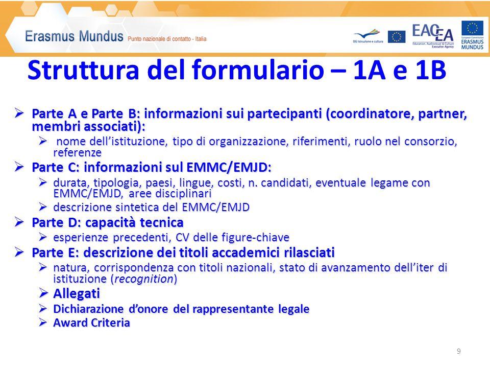 Parte A e Parte B: informazioni sui partecipanti (coordinatore, partner, membri associati): Parte A e Parte B: informazioni sui partecipanti (coordinatore, partner, membri associati): nome dellistituzione, tipo di organizzazione, riferimenti, ruolo nel consorzio, referenze nome dellistituzione, tipo di organizzazione, riferimenti, ruolo nel consorzio, referenze Parte C: informazioni sul EMMC/EMJD: Parte C: informazioni sul EMMC/EMJD: durata, tipologia, paesi, lingue, costi, n.