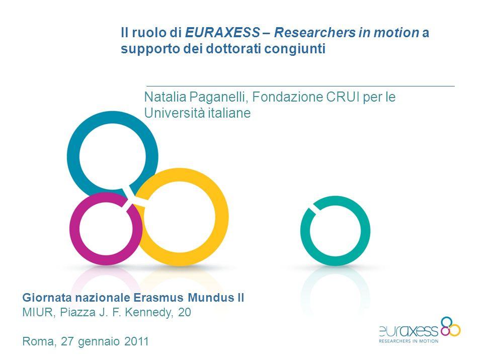 Il ruolo di EURAXESS – Researchers in motion a supporto dei dottorati congiunti Natalia Paganelli, Fondazione CRUI per le Università italiane Giornata nazionale Erasmus Mundus II MIUR, Piazza J.