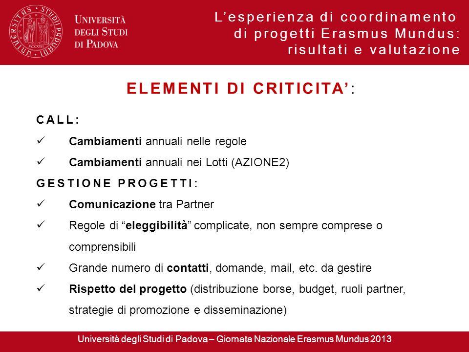Lesperienza di coordinamento di progetti Erasmus Mundus: risultati e valutazione ELEMENTI DI CRITICITA: CALL: Cambiamenti annuali nelle regole Cambiam
