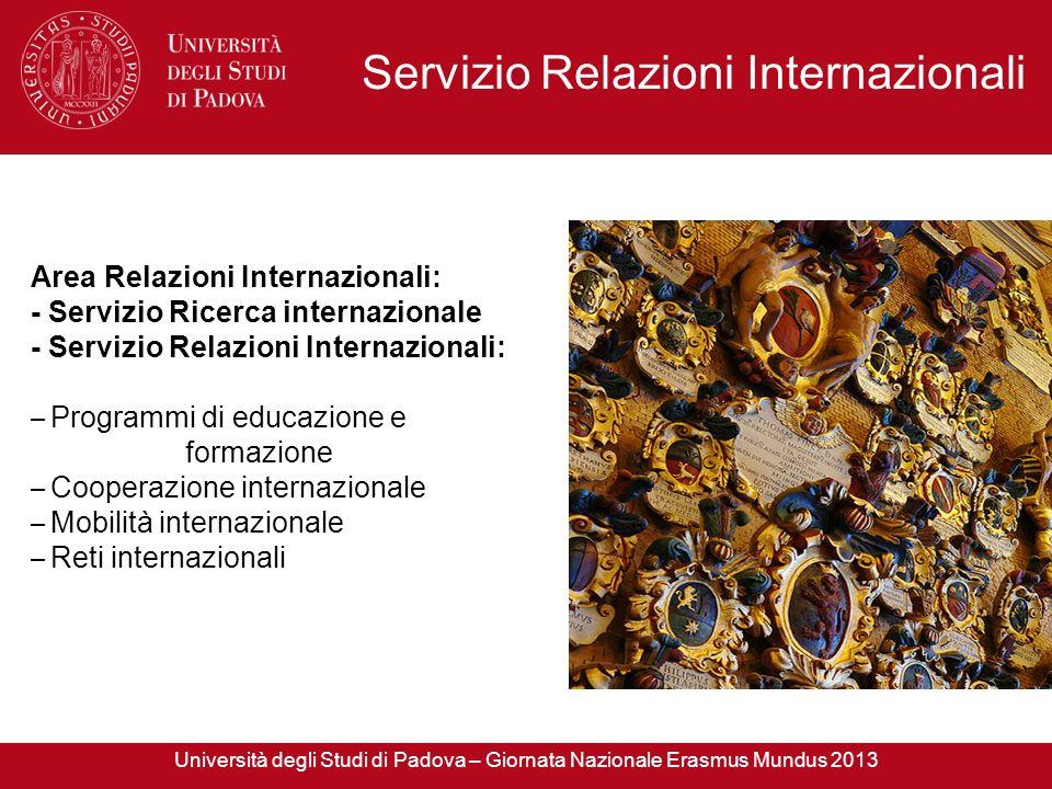 Area Relazioni Internazionali: - Servizio Ricerca internazionale - Servizio Relazioni Internazionali: – Programmi di educazione e formazione – Coopera