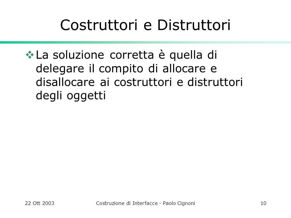 22 Ott 2003Costruzione di Interfacce - Paolo Cignoni10 Costruttori e Distruttori La soluzione corretta è quella di delegare il compito di allocare e d