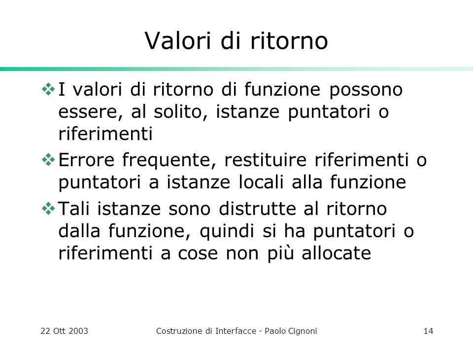 22 Ott 2003Costruzione di Interfacce - Paolo Cignoni14 Valori di ritorno I valori di ritorno di funzione possono essere, al solito, istanze puntatori