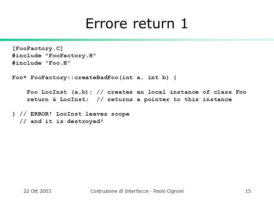 22 Ott 2003Costruzione di Interfacce - Paolo Cignoni15 Errore return 1 [FooFactory.C] #include