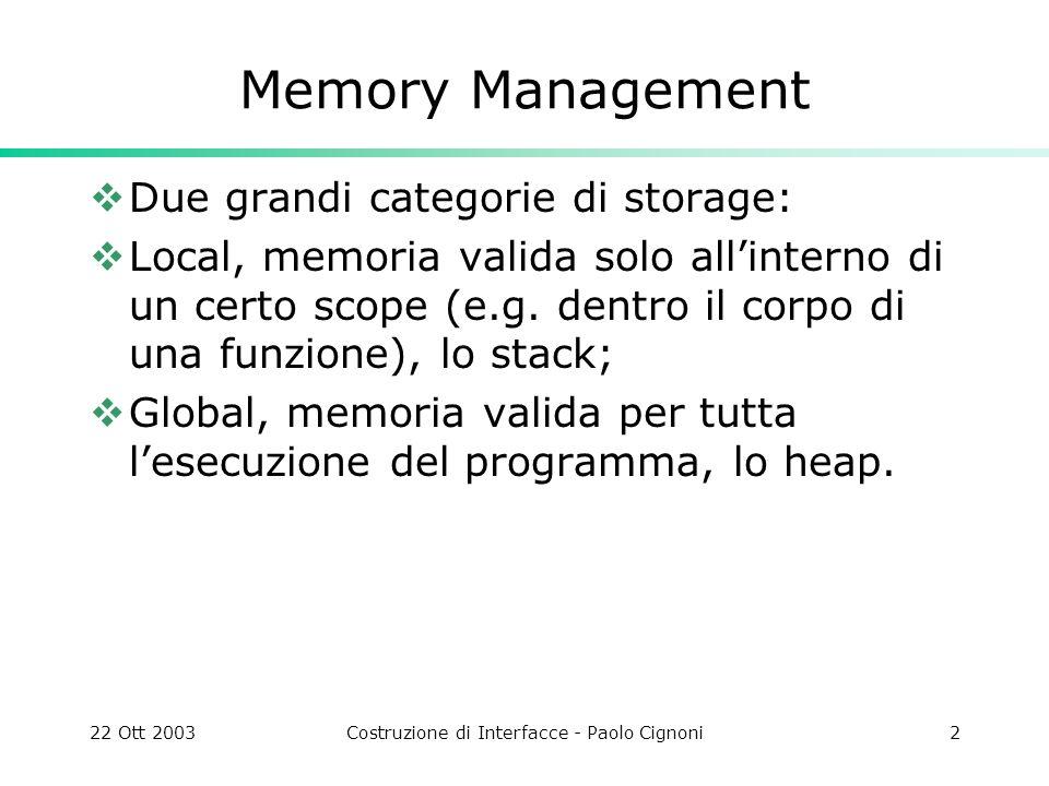 22 Ott 2003Costruzione di Interfacce - Paolo Cignoni2 Memory Management Due grandi categorie di storage: Local, memoria valida solo allinterno di un c