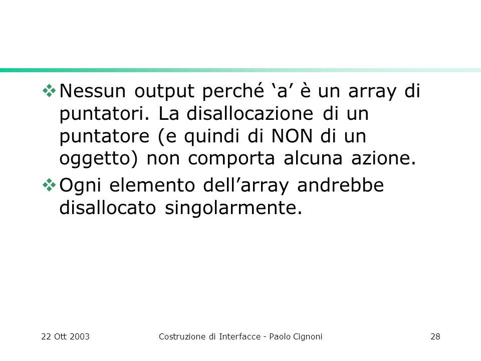 22 Ott 2003Costruzione di Interfacce - Paolo Cignoni28 Nessun output perché a è un array di puntatori. La disallocazione di un puntatore (e quindi di