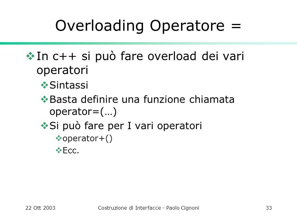 22 Ott 2003Costruzione di Interfacce - Paolo Cignoni33 Overloading Operatore = In c++ si può fare overload dei vari operatori Sintassi Basta definire