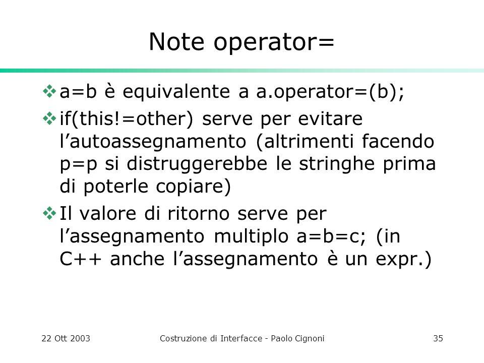 22 Ott 2003Costruzione di Interfacce - Paolo Cignoni35 Note operator= a=b è equivalente a a.operator=(b); if(this!=other) serve per evitare lautoasseg