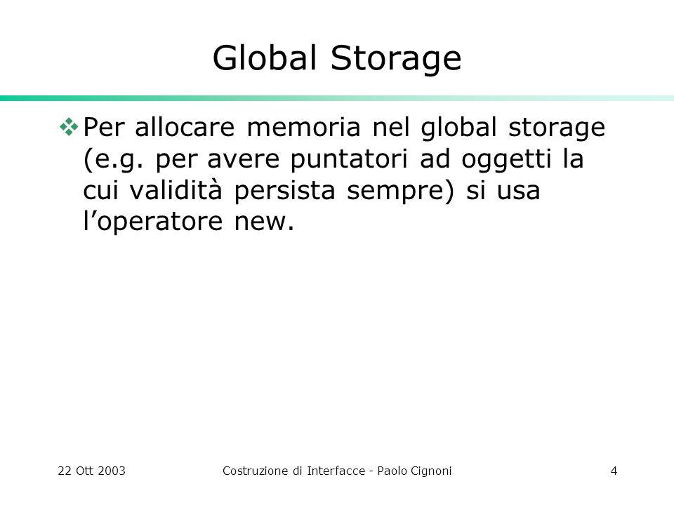 22 Ott 2003Costruzione di Interfacce - Paolo Cignoni4 Global Storage Per allocare memoria nel global storage (e.g. per avere puntatori ad oggetti la c