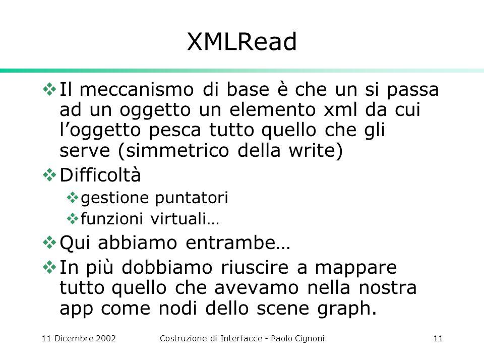 11 Dicembre 2002Costruzione di Interfacce - Paolo Cignoni11 XMLRead Il meccanismo di base è che un si passa ad un oggetto un elemento xml da cui logge
