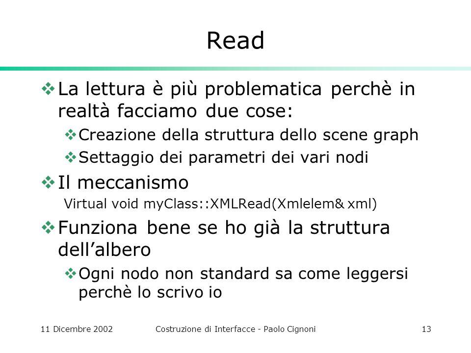 11 Dicembre 2002Costruzione di Interfacce - Paolo Cignoni13 Read La lettura è più problematica perchè in realtà facciamo due cose: Creazione della str