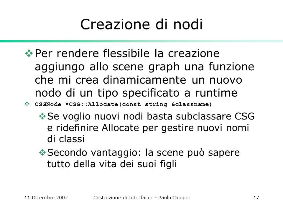 11 Dicembre 2002Costruzione di Interfacce - Paolo Cignoni17 Creazione di nodi Per rendere flessibile la creazione aggiungo allo scene graph una funzio