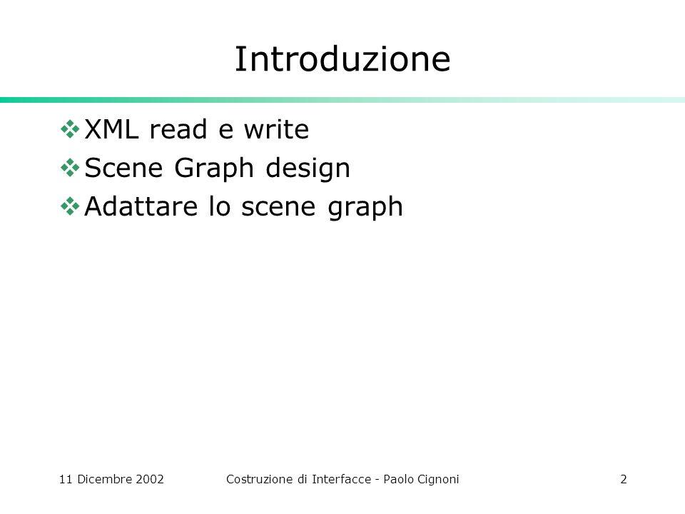 11 Dicembre 2002Costruzione di Interfacce - Paolo Cignoni33 OnNewDocument BOOL CMBDoc::OnNewDocument() { … Scene.root.Sons.push_back(new CSGAnimZPrecession()); Scene.m=new MoebiusStrip(); m=Scene.m; m->Generate(); Scene.root.Sons.push_back(m); CSGAnimMoebiusTransf *ma=new CSGAnimMoebiusTransf; ma->b=&Scene; ma->StartAngleDeg=0; ma->AngularSpeedDPS=40; Scene.root.Sons.push_back(ma); Scene.root.Sons.push_back(new CSGSphereMesh(.5f,20,40)); ` return TRUE; }
