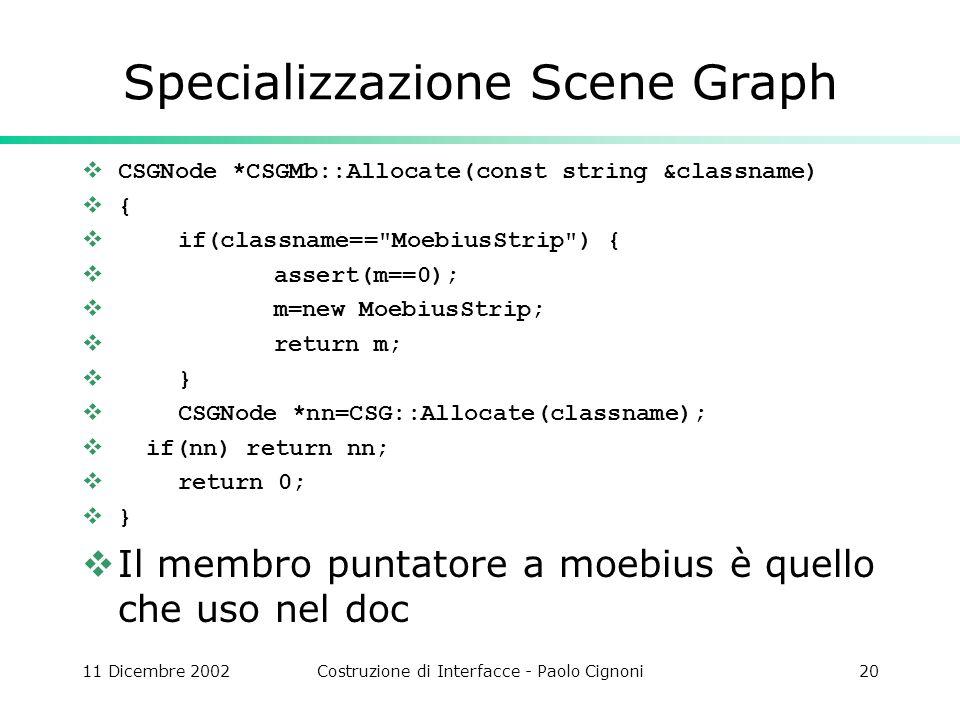 11 Dicembre 2002Costruzione di Interfacce - Paolo Cignoni20 Specializzazione Scene Graph CSGNode *CSGMb::Allocate(const string &classname) { if(classname== MoebiusStrip ) { assert(m==0); m=new MoebiusStrip; return m; } CSGNode *nn=CSG::Allocate(classname); if(nn) return nn; return 0; } Il membro puntatore a moebius è quello che uso nel doc