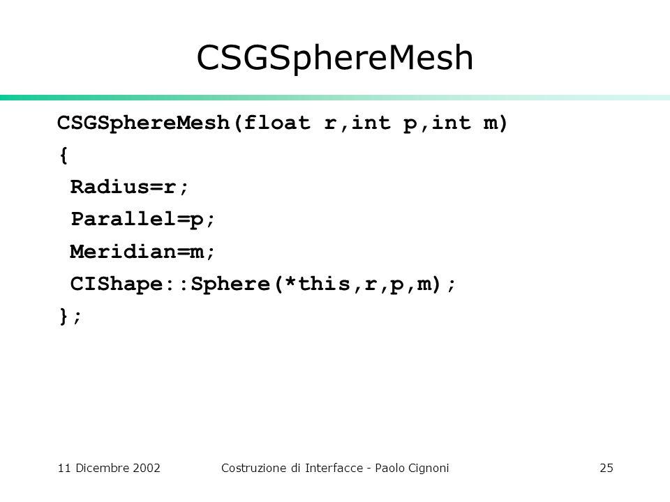 11 Dicembre 2002Costruzione di Interfacce - Paolo Cignoni25 CSGSphereMesh CSGSphereMesh(float r,int p,int m) { Radius=r; Parallel=p; Meridian=m; CISha