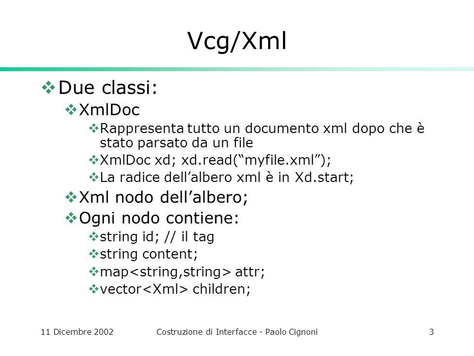 11 Dicembre 2002Costruzione di Interfacce - Paolo Cignoni3 Vcg/Xml Due classi: XmlDoc Rappresenta tutto un documento xml dopo che è stato parsato da un file XmlDoc xd; xd.read(myfile.xml); La radice dellalbero xml è in Xd.start; Xml nodo dellalbero; Ogni nodo contiene: string id; // il tag string content; map attr; vector children;