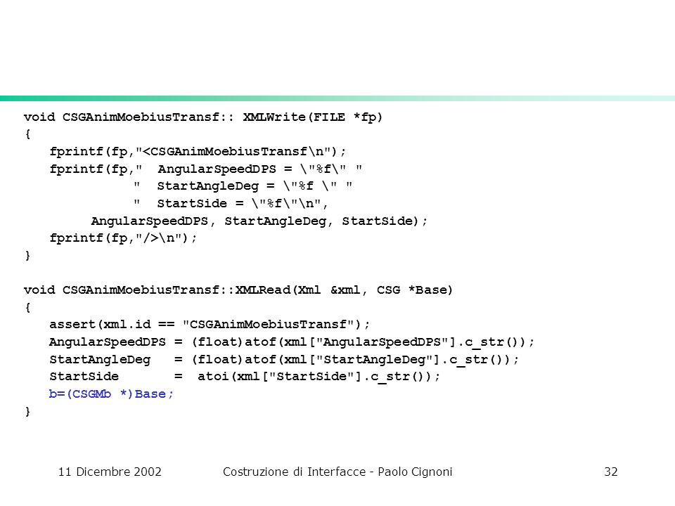 11 Dicembre 2002Costruzione di Interfacce - Paolo Cignoni32 void CSGAnimMoebiusTransf:: XMLWrite(FILE *fp) { fprintf(fp,