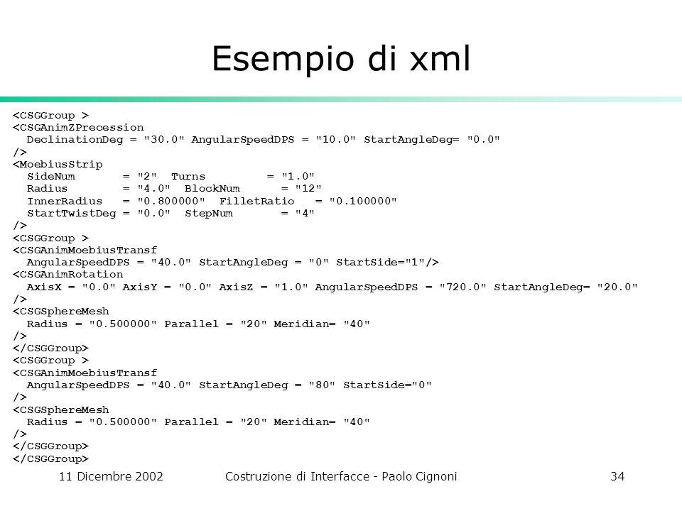 11 Dicembre 2002Costruzione di Interfacce - Paolo Cignoni34 Esempio di xml <CSGAnimZPrecession DeclinationDeg = 30.0 AngularSpeedDPS = 10.0 StartAngleDeg= 0.0 /> <MoebiusStrip SideNum = 2 Turns = 1.0 Radius = 4.0 BlockNum = 12 InnerRadius = 0.800000 FilletRatio = 0.100000 StartTwistDeg = 0.0 StepNum = 4 /> <CSGAnimMoebiusTransf AngularSpeedDPS = 40.0 StartAngleDeg = 0 StartSide= 1 /> <CSGAnimRotation AxisX = 0.0 AxisY = 0.0 AxisZ = 1.0 AngularSpeedDPS = 720.0 StartAngleDeg= 20.0 /> <CSGSphereMesh Radius = 0.500000 Parallel = 20 Meridian= 40 /> <CSGAnimMoebiusTransf AngularSpeedDPS = 40.0 StartAngleDeg = 80 StartSide= 0 /> <CSGSphereMesh Radius = 0.500000 Parallel = 20 Meridian= 40 />