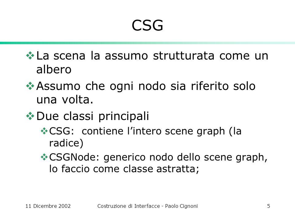 11 Dicembre 2002Costruzione di Interfacce - Paolo Cignoni6 Usiamo lo SceneGraph Nel doc aggiungiamo un membro: CSG Scene; OnNewDocument: aggiungiamo la costruzione dello scene graph Scene.root.Sons.push_back(new CSGAnimZPrecession()); MoebiusStrip *ms=new MoebiusStrip(); ms->Generate(); Scene.root.Sons.push_back(ms);\ Notare come si crei apposta un oggetto MoebiusStrip con la new anziché passargli lindirizzo del membro del doc.