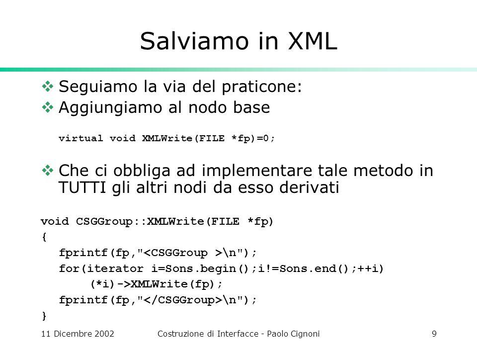 11 Dicembre 2002Costruzione di Interfacce - Paolo Cignoni9 Salviamo in XML Seguiamo la via del praticone: Aggiungiamo al nodo base virtual void XMLWrite(FILE *fp)=0; Che ci obbliga ad implementare tale metodo in TUTTI gli altri nodi da esso derivati void CSGGroup::XMLWrite(FILE *fp) { fprintf(fp, \n ); for(iterator i=Sons.begin();i!=Sons.end();++i) (*i)->XMLWrite(fp); fprintf(fp, \n ); }