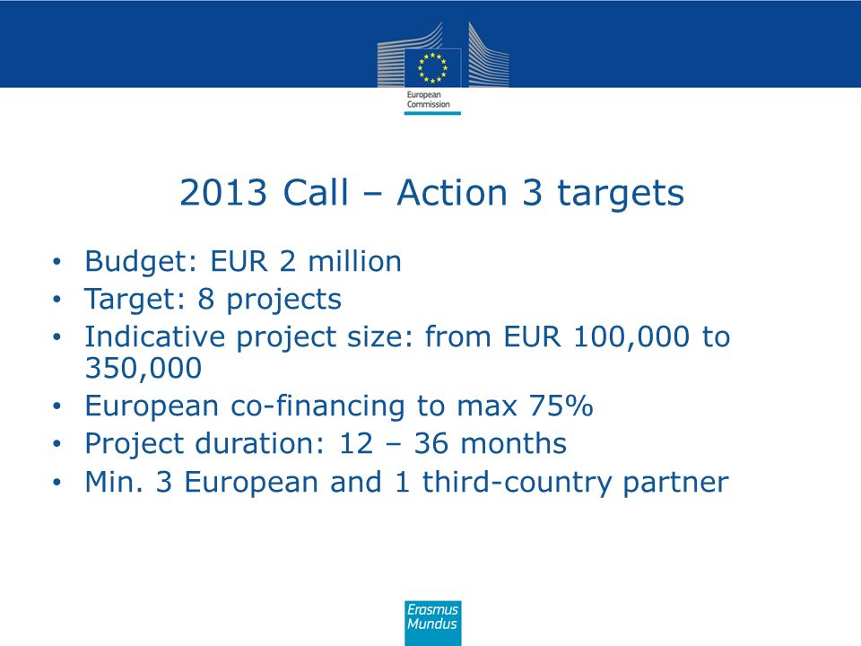 2013 Call – Action 3 targets Budget: EUR 2 million Target: 8 projects Indicative project size: from EUR 100,000 to 350,000 European co-financing to ma