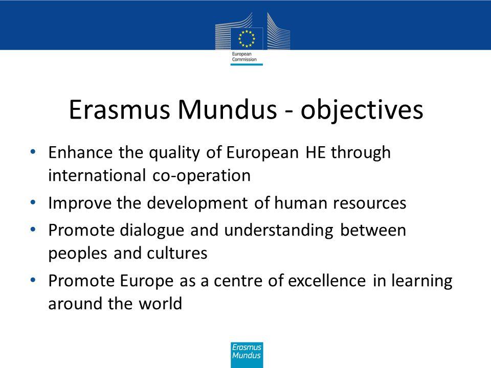 Erasmus Mundus Promote European higher education Promote intercultural understanding Improve career prospects 4 Policy context programme aims Bologna process EU external relations EU 2020