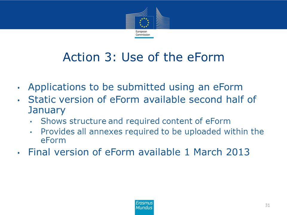 Action 3: Use of the eForm 31 Applications to be submitted using an eForm Static version of eForm available second half of January Shows structure and