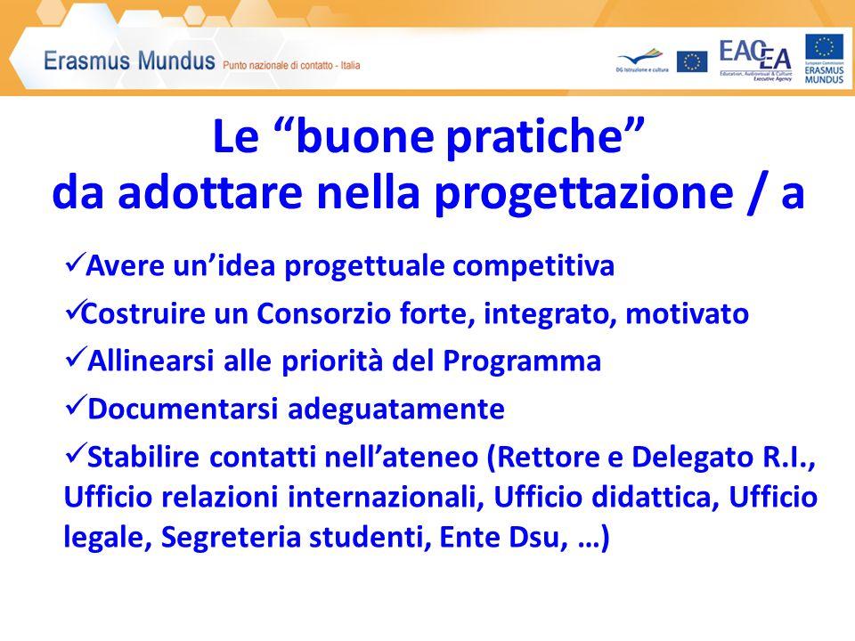 Le buone pratiche da adottare nella progettazione / a Avere unidea progettuale competitiva Costruire un Consorzio forte, integrato, motivato Allinears