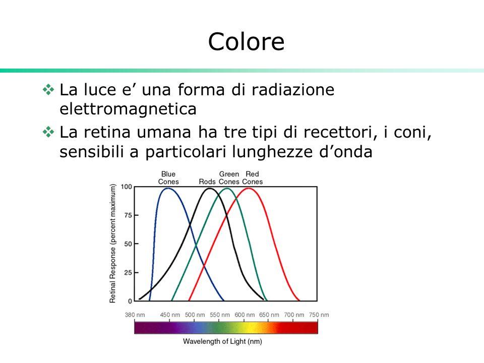 Colore La luce e una forma di radiazione elettromagnetica La retina umana ha tre tipi di recettori, i coni, sensibili a particolari lunghezze donda