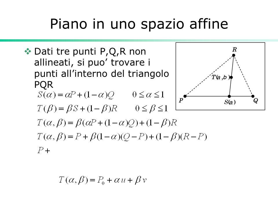 Piano in uno spazio affine Dati tre punti P,Q,R non allineati, si puo trovare i punti allinterno del triangolo PQR
