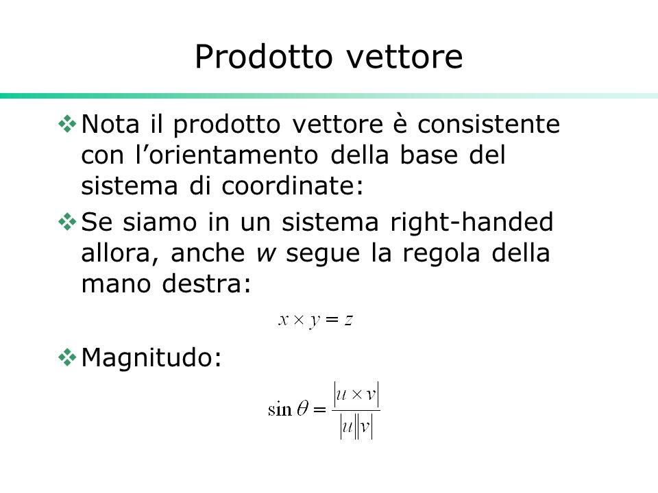 Prodotto vettore Nota il prodotto vettore è consistente con lorientamento della base del sistema di coordinate: Se siamo in un sistema right-handed al