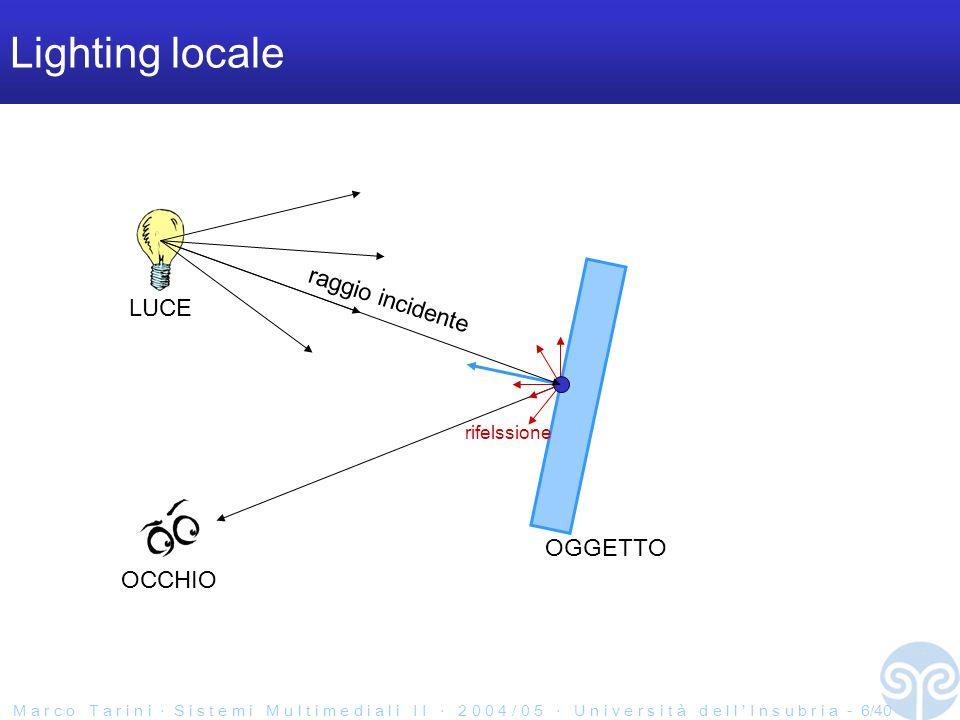 M a r c o T a r i n i S i s t e m i M u l t i m e d i a l i I I 2 0 0 4 / 0 5 U n i v e r s i t à d e l l I n s u b r i a - 7/40 Cosa è facile fare Illuminazione locale: –riflessioni della luce su oggetti con proprietà ottiche molto semplici –con multiple fonti di luci ma molto semplici: puntiformi Illuminazione globale: –riflessioni multiple in maniera BRUTALMENTE approssimata –assorbimento da parte del mezzo assunzioni semplificanti (nebbia uniforme) –tutto il resto solo a fatica escogitando algoritmi ad-hoc che si adattano al nostro l HW