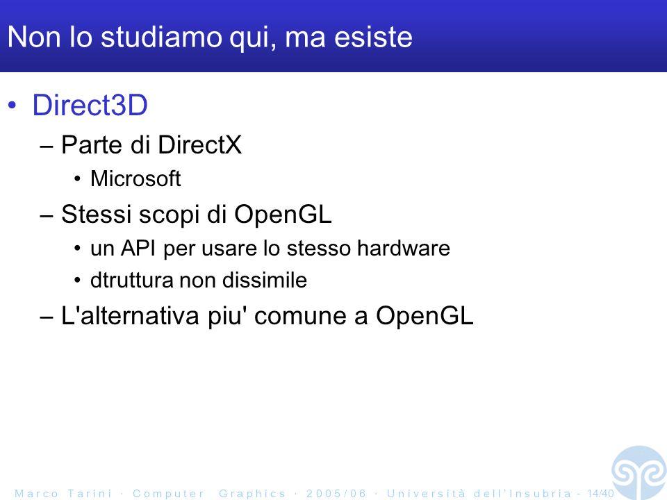 M a r c o T a r i n i C o m p u t e r G r a p h i c s 2 0 0 5 / 0 6 U n i v e r s i t à d e l l I n s u b r i a - 14/40 Non lo studiamo qui, ma esiste Direct3D –Parte di DirectX Microsoft –Stessi scopi di OpenGL un API per usare lo stesso hardware dtruttura non dissimile –L alternativa piu comune a OpenGL