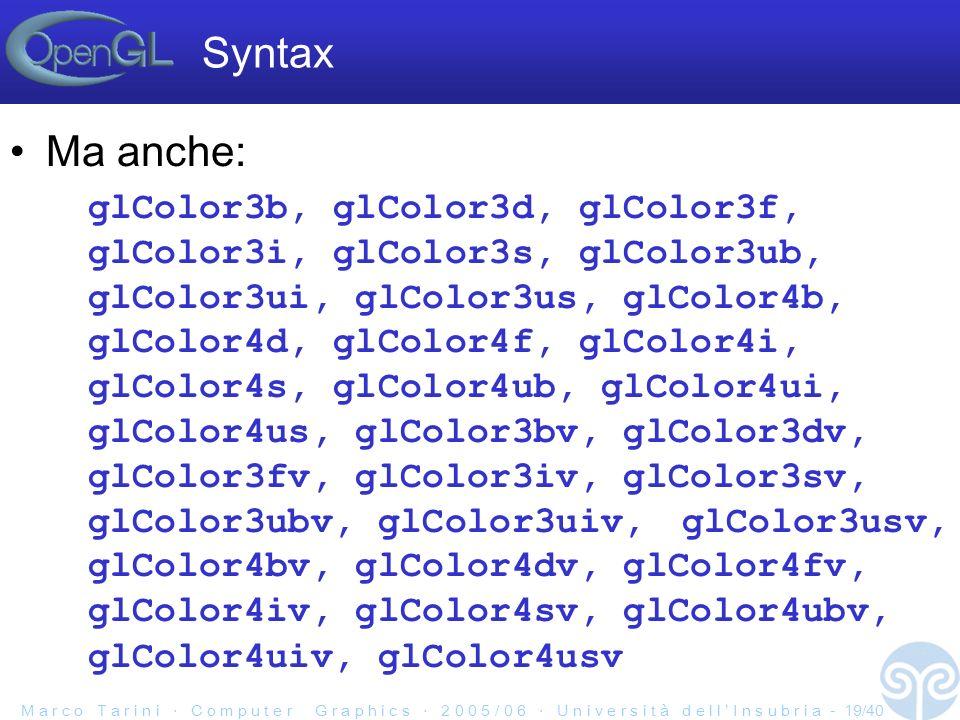 M a r c o T a r i n i C o m p u t e r G r a p h i c s 2 0 0 5 / 0 6 U n i v e r s i t à d e l l I n s u b r i a - 19/40 Syntax Ma anche: glColor3b, glColor3d, glColor3f, glColor3i, glColor3s, glColor3ub, glColor3ui, glColor3us, glColor4b, glColor4d, glColor4f, glColor4i, glColor4s, glColor4ub, glColor4ui, glColor4us, glColor3bv, glColor3dv, glColor3fv, glColor3iv, glColor3sv, glColor3ubv, glColor3uiv,glColor3usv, glColor4bv, glColor4dv, glColor4fv, glColor4iv, glColor4sv, glColor4ubv, glColor4uiv, glColor4usv