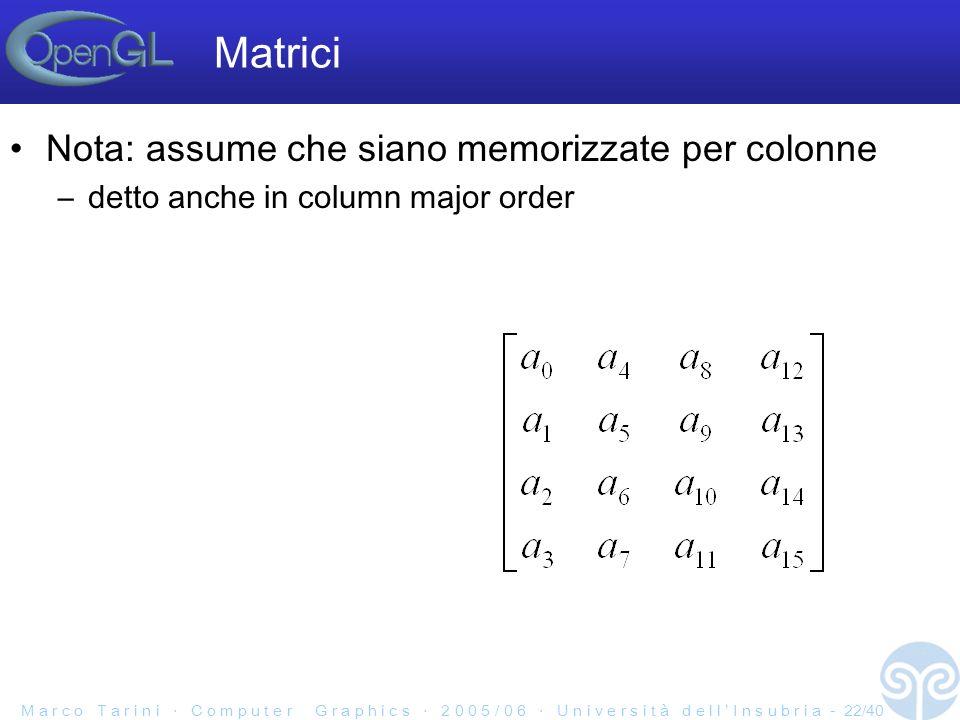 M a r c o T a r i n i C o m p u t e r G r a p h i c s 2 0 0 5 / 0 6 U n i v e r s i t à d e l l I n s u b r i a - 22/40 Matrici Nota: assume che siano memorizzate per colonne –detto anche in column major order
